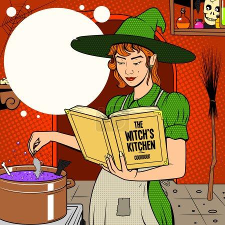 Illustration pour Sorcière préparant potion pop art style rétro illustration vectorielle colorée - image libre de droit