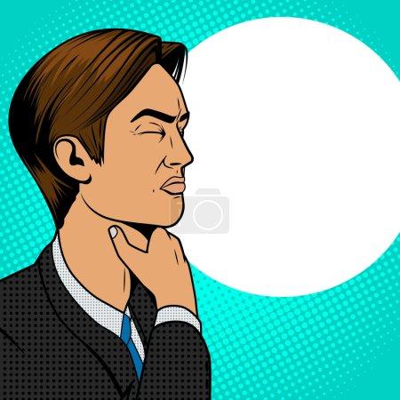 Illustration pour Homme avec mal de gorge vieux bande dessinée pop art rétro style vecteur illustration médicale - image libre de droit
