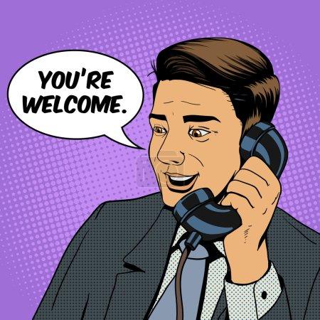 Illustration pour Homme d'affaires parlant sur le téléphone pop art illustration vectorielle de style rétro. Homme et téléphone BD imitation - image libre de droit