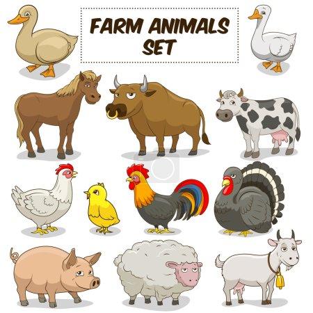 Photo pour Dessin animé animaux de ferme fanny illustration vectorielle jeu coloré - image libre de droit