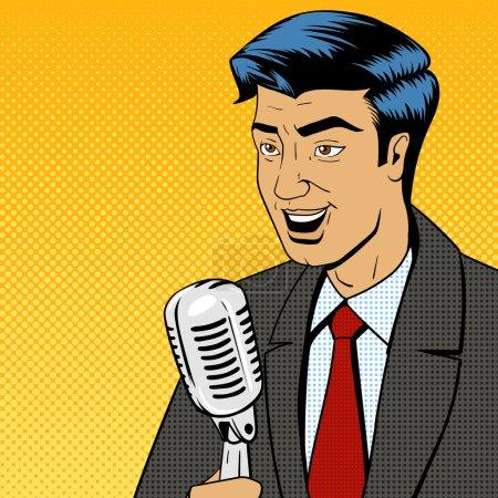 Illustration pour Homme d'affaires politicien orateur chanteur homme avec microphone pop art rétro style bande dessinée illustration vectorielle - image libre de droit
