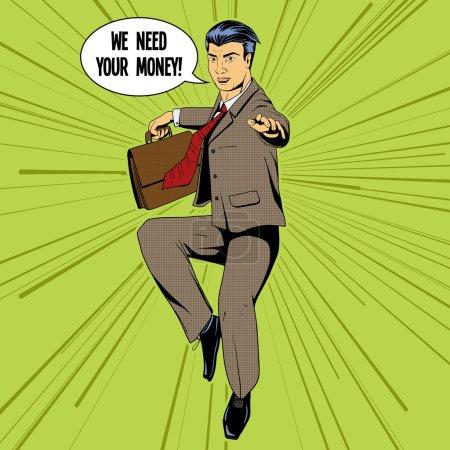 Illustration pour Homme d'affaires volant matrice style pop art illustration vectorielle rétro. imitation de style BD - image libre de droit