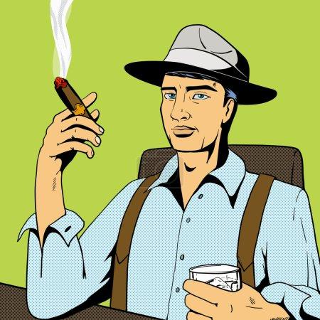 Illustration pour Homme buvant de l'alcool de whisky et fumant du cigare pop art rétro illustration vectorielle de style vintage. Imitation de bandes dessinées - image libre de droit