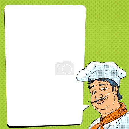 Illustration pour Chef spectacle ok signe pop art rétro ancienne illustration vectorielle de style. imitation de style BD - image libre de droit