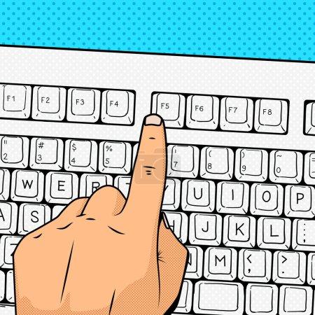Illustration pour Appuyez sur la main F5 actualiser la mise à jour touche pop art rétro style vectoriel illustration. Imitation de bandes dessinées - image libre de droit