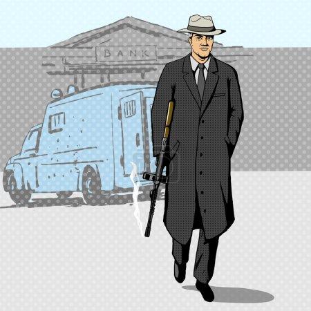 Gangster with gun walking from bank pop art vector