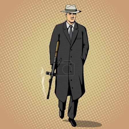 Gangster with gun walking pop art style vector