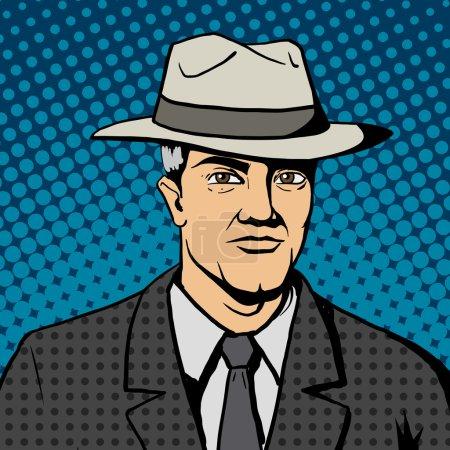 Illustration pour Homme gangster avec chapeau pop art illustration vectorielle de style rétro. Imitation de bandes dessinées - image libre de droit