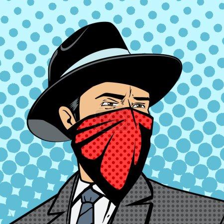 Gangster with hidden face pop art vector