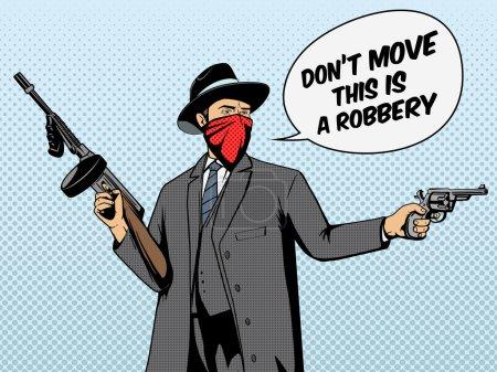 Illustration pour Gangster avec vol d'arme illustration vectorielle de style rétro pop art. Imitation de bandes dessinées - image libre de droit