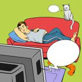Man lying on couch watching TV comic book style