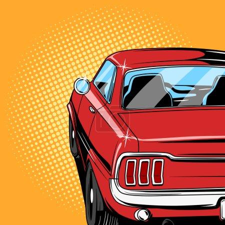 Illustration pour Voiture rouge bande dessinée rétro pop art style vectoriel illustration - image libre de droit