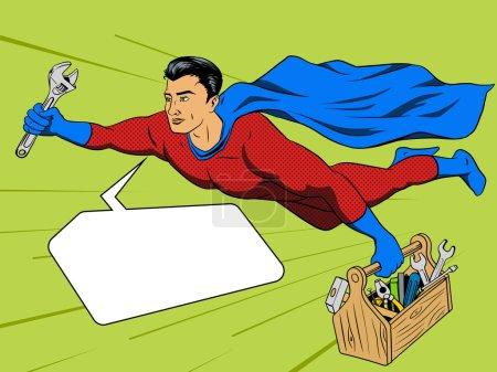 Superhero man and tool box comic book style vector