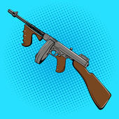 Automatic gun retro comic book style pop art vector illustration