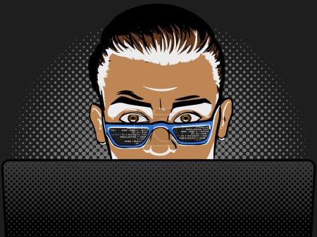 Illustration pour Développeur de logiciels au travail bande dessinée pop art rétro style vectoriel illustration. Ingénieur logiciel . - image libre de droit