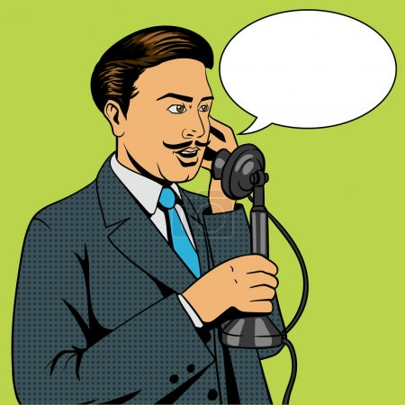 Illustration pour Homme parlant sur le téléphone vintage pop art illustration vectorielle de style rétro. Homme et téléphone BD imitation - image libre de droit