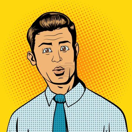 Illustration for Surprised man pop art retro style vector illustration. Comic book style imitation - Royalty Free Image