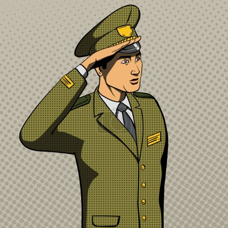 Military man salutes pop art style vector