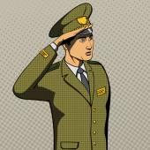Military man salutes pop art style vector
