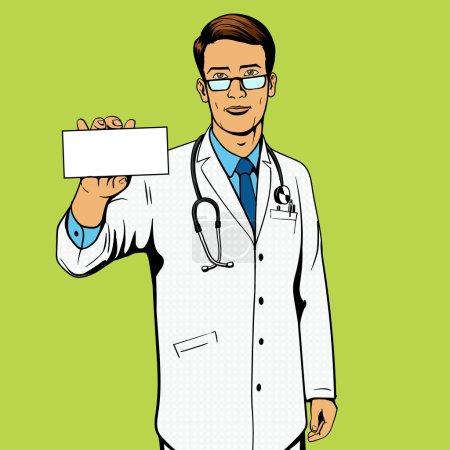 Illustration pour Docteur tenant boîte à médicaments illustration vectorielle pop art. Imitation de bandes dessinées . - image libre de droit