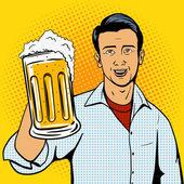 Man offers beer cup pop art style vector