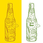 Beer bottle abstract ornament vector