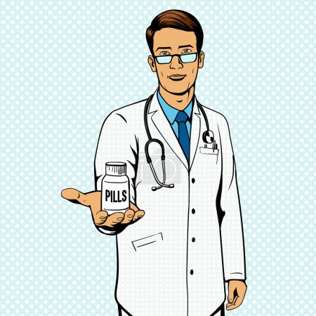 Photo for Doctor holding vial with pills pop art vector illustration. Comic book imitation. - Royalty Free Image