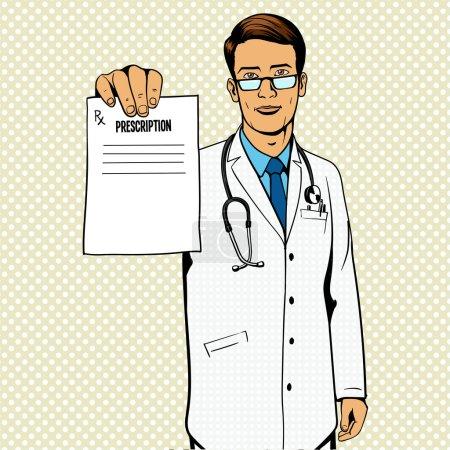 Illustration for Doctor holding medical prescription pop art vector illustration. Comic book imitation. - Royalty Free Image