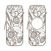 Beer can abstract ornament vector illustration Engraving style