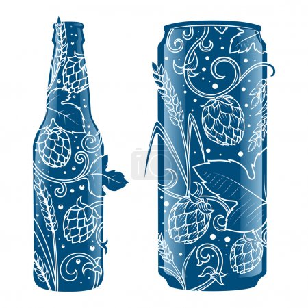 Illustration for Beer can and bottle abstract ornament vector illustration. Engraving style - Royalty Free Image