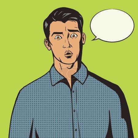 Illustration pour Surpris homme pop art rétro style vectoriel illustration. imitation de style BD - image libre de droit