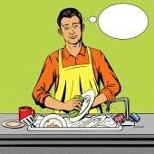 Man washes dishes pop art style vector illustration Comic book style imitation