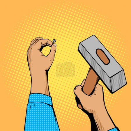 Illustration for Hands with nail and hammer pop art style vector illustration. Comic book style imitation - Royalty Free Image