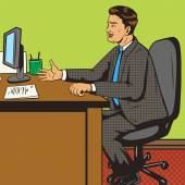 Man in office pop art retro style vector illustration Comic book style imitation Man on the interview