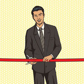 Man cuts red ribbon pop art style vector illustration Comic book style imitation Successful businessman with red ribbon