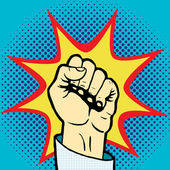 Fist hand pop art style vector illustration Comic book style