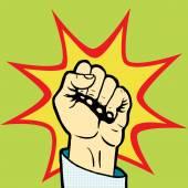 Fist hand pop art style vector