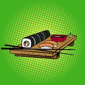Sushi rolls pop art style vector illustration Japanese food Comic book imitation