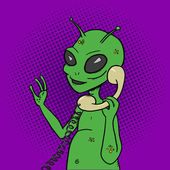 Alien talking phone pop art style vector