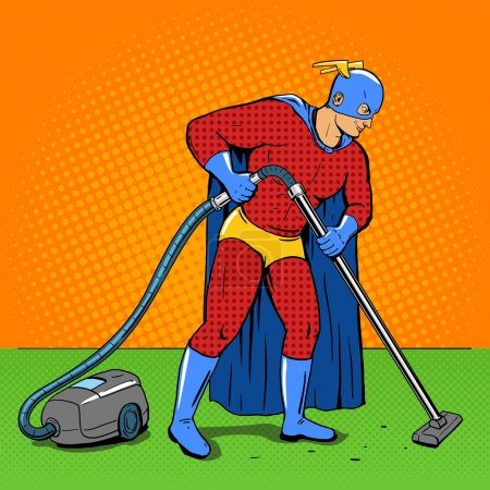 Illustration for Superhero  with vacuum cleaner pop art style vector illustration. Comic book style - Royalty Free Image