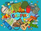 Camping design colorful set vector illustration Coloring book Black and white line art