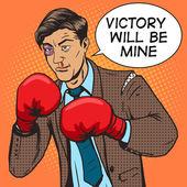 Geschäftsmann kämpft in Boxhandschuhen Pop-Art-Vektor