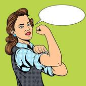 Business woman hand gesture pop art style vector