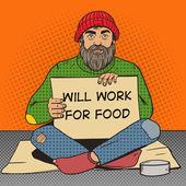 Homeless man with paper sign pop art vector