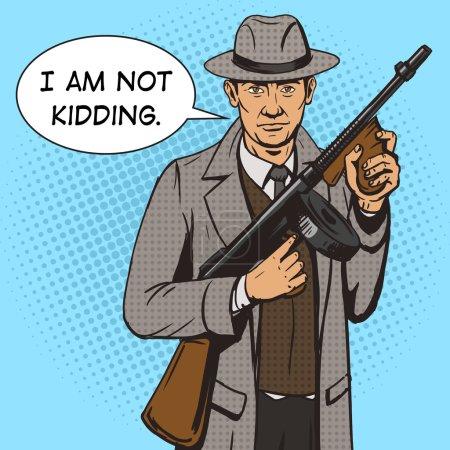 Illustration pour Gangster avec illustration vectorielle de style pop art mitrailleuse. Imitation de style BD. Style rétro vintage. Illustration conceptuelle - image libre de droit