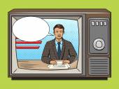 News presenter on tv pop art style vector illustration Comic book style imitation Vintage retro style Conceptual illustration
