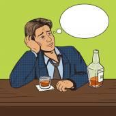 Man with bad mood drinks in bar pop art vector