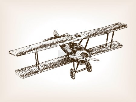 Retro airplane hand drawn sketch style vector