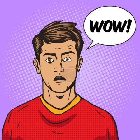 Illustration for Surprised man pop art retro style vector illustration. Comic book style imitation. Vintage retro style. Conceptual illustration - Royalty Free Image