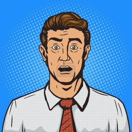 Illustration pour Surpris homme pop art rétro style vectoriel illustration. Imitation de style BD. Style rétro vintage. Illustration conceptuelle - image libre de droit